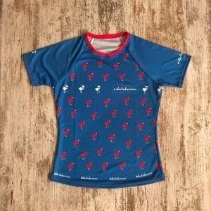 Camiseta_running_flamencos_repetidos_azul