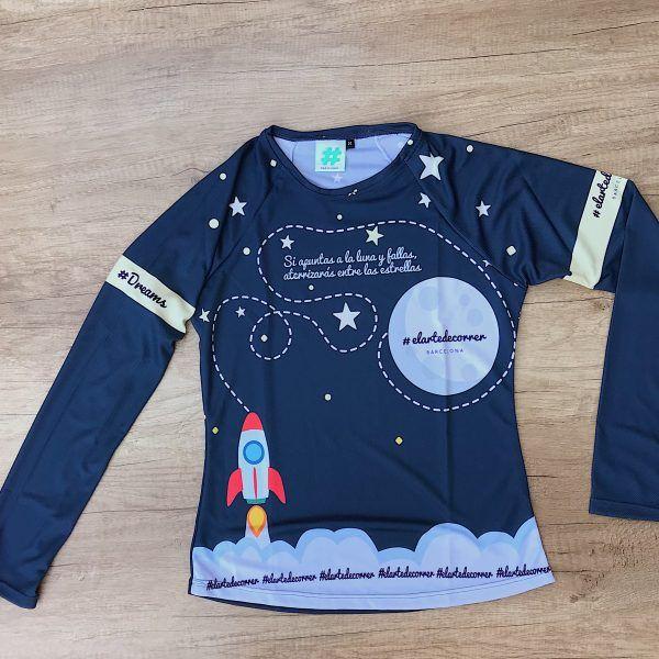 Camiseta técnica manga larga apunta a la luna, parte delantera
