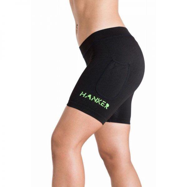Malla corta mujer en color negro y verde, modelo Akasha Black Line.