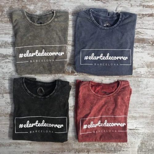 Camisetas algodón con nuestro hashtag y logo #elartedecorrer en blanco