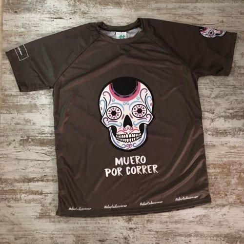 """Camiseta manga corta unisex calaveras mexicanas con la frase delante """"Muero por correr"""""""