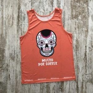 Camiseta tirantes unisex naranja calaveras mexicanas de #elartedecorrer