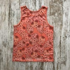 Camiseta tirantes unisex naranja calaveras mexicanas de #elartedecorrer parte posterior
