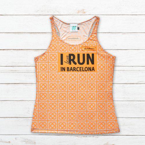 camiseta tirantes mujer barcelona naranja delantera elartedecorrer