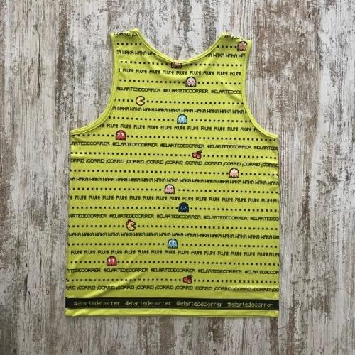 Camiseta pacman comecocos verde y llena de líneas de pacman por toda la camiseta - espalda