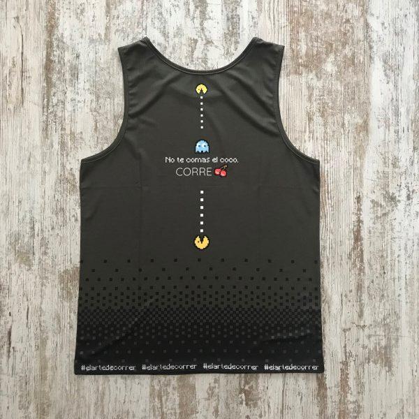"""Camiseta pacman comecocos gris oscuro y con la palabra """"Run y nada más"""" unisex espalda"""
