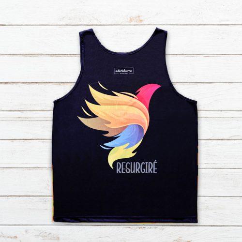 camiseta tirantes unisex avefenix negra trasera elartedecorrer