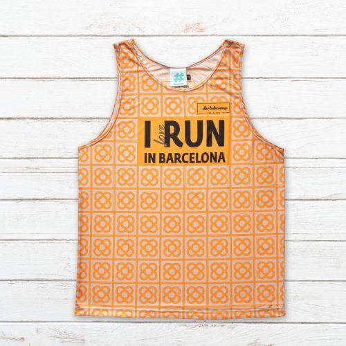 camiseta tirantes unisex barcelona naranja delantera elartedecorrer