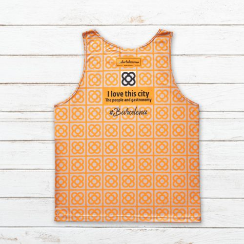 camiseta tirantes unisex barcelona naranja trasera elartedecorrer