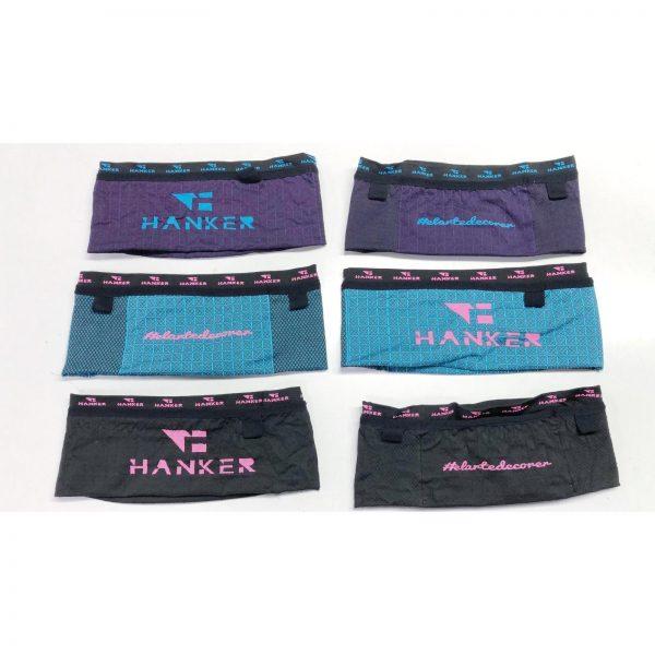 Cinturon deportivo #elartedecorrer para correr, creado por Hanker-Sports: colores turquesa-rosa, lila-turquesa y negro-fucsia