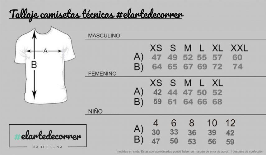 Tallaje camiseta técnica #elartedecorrer