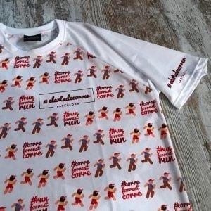 Forrest Gump repetidos sobre fondo camiseta técnica. Visión de cerca.